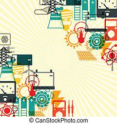 промышленность, задний план, with, мощность, icons, в, квартира, дизайн, style.