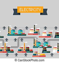 промышленность, задний план, with, промышленные, мощность, plants, в, квартира, style.