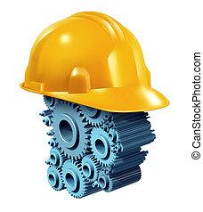 промышленность, строительство, за работой