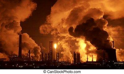 промышленность, and, дым, в, ночь