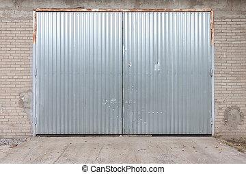 промышленные, здание, сделал, of, бетон, with, дверь