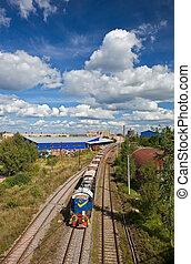 промышленные, пейзаж, with, поезд