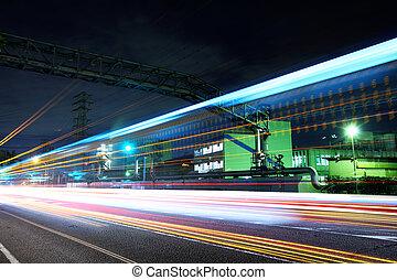 промышленные, растение, в, ночь
