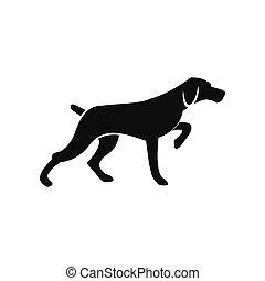 просто, черный, собака, охота, значок