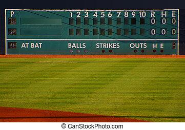 пространство, посетитель, табло, бейсбол, ретро, пустой, главная