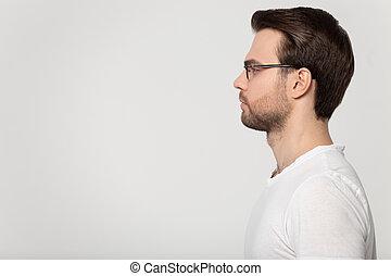 пространство, человек, пустой, серьезный, glasses, копия, смотреть, кавказец