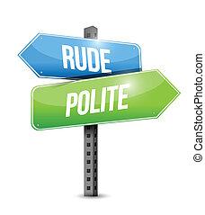 против, грубый, вежливый, иллюстрация, знак, дизайн, дорога