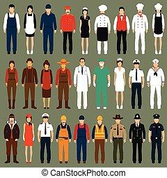 профессия, единообразный, люди