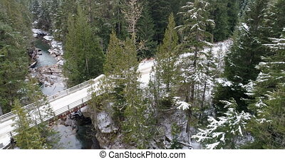прохождение, над, снег, река, лес, covered, мост, 4k