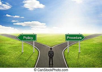 процедура, или, выберите, политика, бизнесмен, concept;, верный, дорога, way.