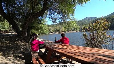 пруд, скамейка, children, сидящий