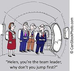 прыгать, вы, первый, лидер, команда