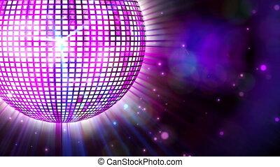 прядение, блестящий, дискотека, мяч, пурпурный