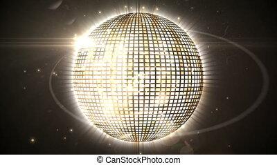 прядение, мяч, блестящий, золото, дискотека