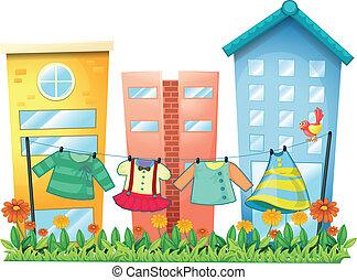 птица, одежда, промывают, сад, подвешивание