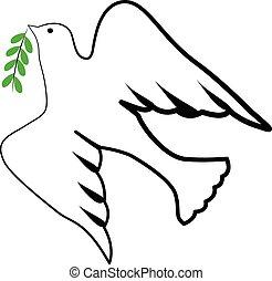 птица, святой, дух, символ, логотип