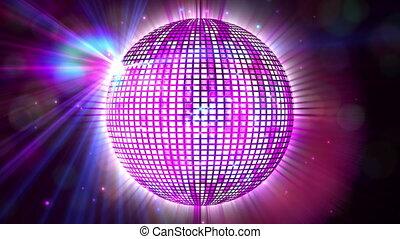 пурпурный, прядение, мяч, блестящий, дискотека