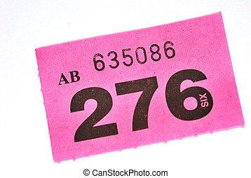 пурпурный, участвовать в лотерее, билет