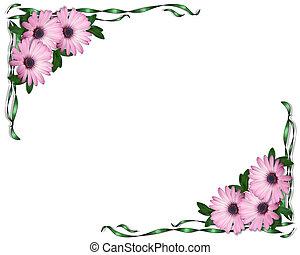 пурпурный, corners, ribbons, daisies