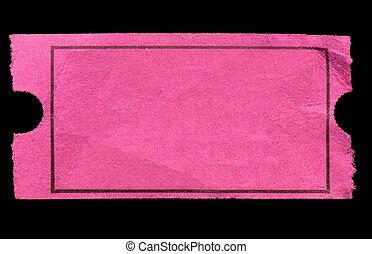 пустой, розовый, вход, билет, isolated, на, , черный,...