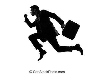 путешественник, бег, силуэт, бизнес, человек