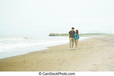 путешественник, пара, на, пляж