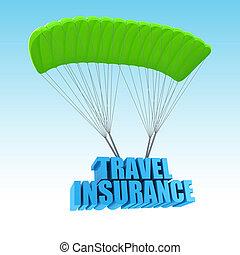 путешествовать, страхование, 3d, концепция, иллюстрация