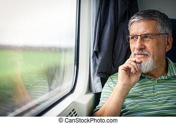 путешествовать, человек, старшая, enjoying, поезд