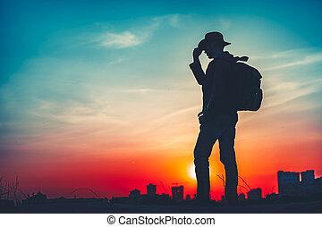 путешествовать, concept., силуэт, of, , человек, with, рюкзак