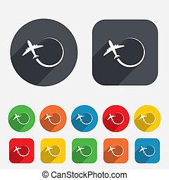 путешествовать, symbol., знак, icon., самолет, поездка
