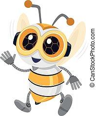 пчела, робототехника, иллюстрация, талисман