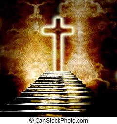 пылающий, святой, пересекать, and, лестница, ведущий, к,...