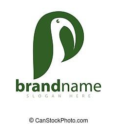 п, письмо, with, птица, and, лист, логотип, значок, вектор