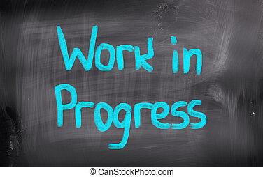 работа, в, прогресс, концепция