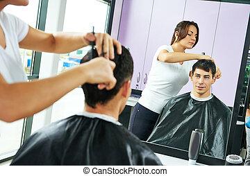 работа, мужской, парикмахер