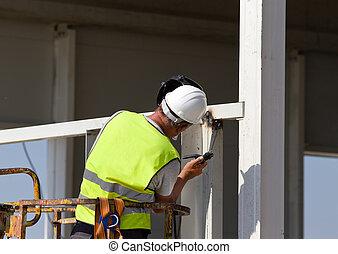 работник, сварка, металл, beams