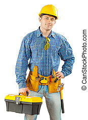 работник, with, ящик для инструментов, isolated