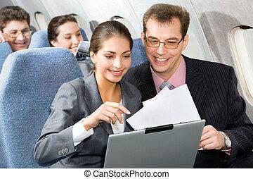 разговор, в, , самолет