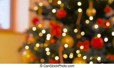 размытый, украшен, главная, дерево, рождество