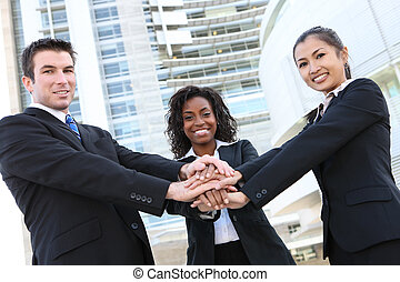разнообразный, бизнес, команда