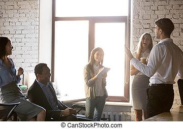 разнообразный, весело, сотрудников, счастливый, наставник, команда, встреча, having