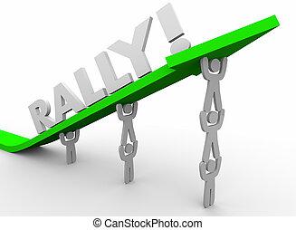 ралли, команда, за работой, вместе, увеличение, лифт, стрела, вверх, words, 3d, оказывать, иллюстрация