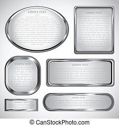 рамка, граница, серебряный