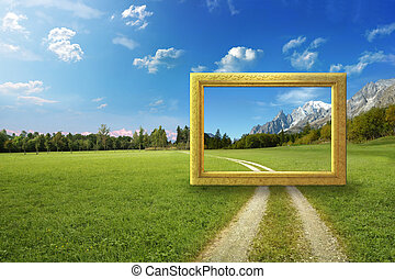 рамка, идиллический, пейзаж
