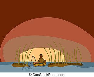 рано, ловит рыбу, утро