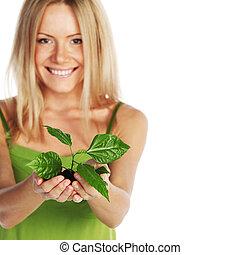 растение, блондинка, руки