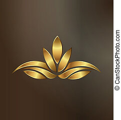растение, золото, лотос, образ, роскошь, логотип
