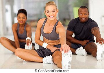 растягивание, женщина, молодой, упражнение, до