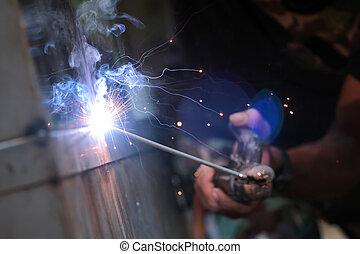 реакция, провод, огонь, легкий, металл, искриться, дым, сварка