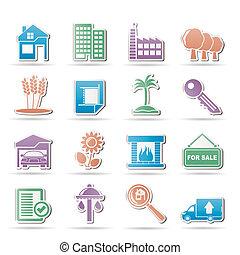 реальный, здание, имущество, icons